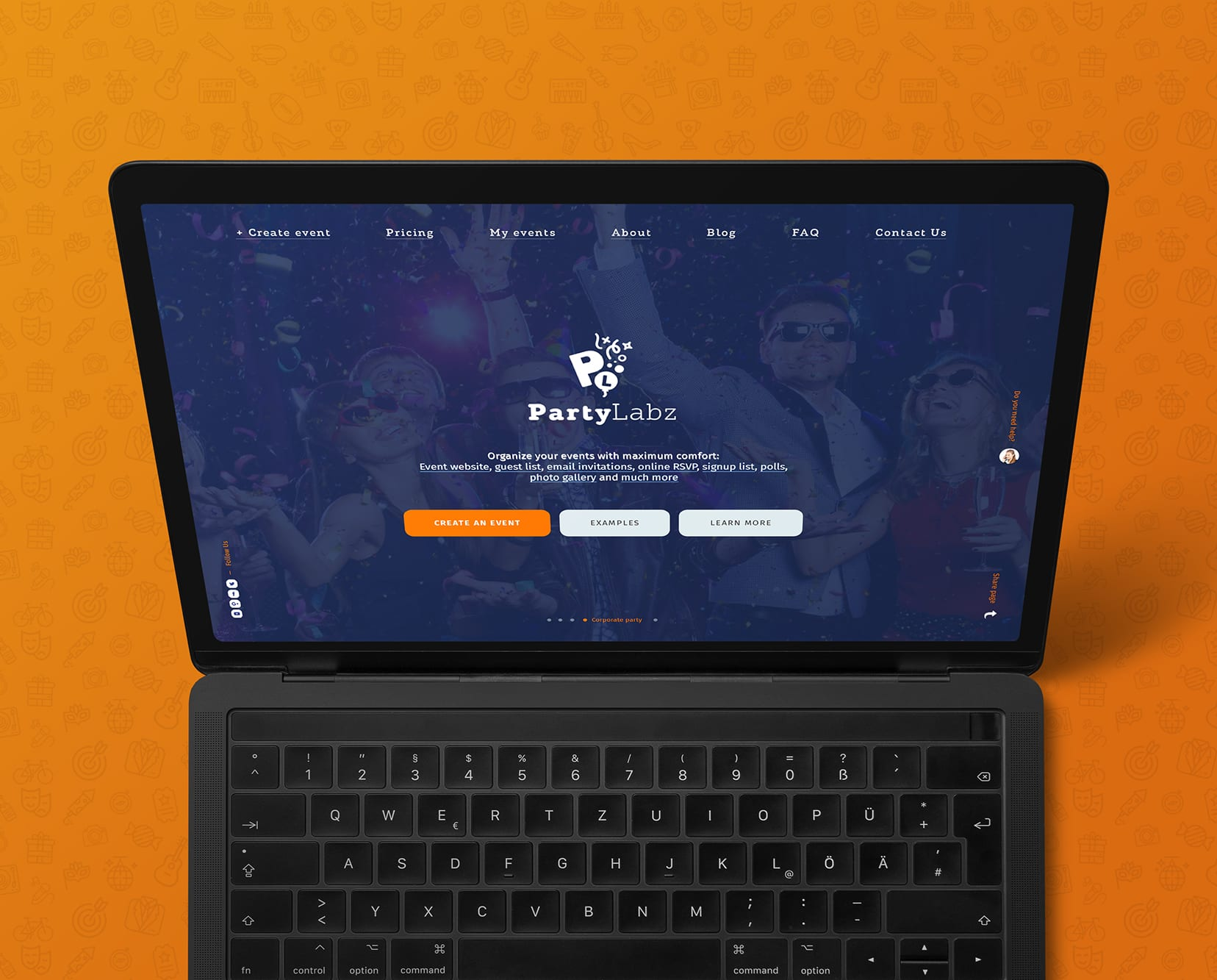 Responsive website design PartyLabz